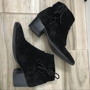 Top Shop Black Velvet Lace Up Booties Size 7